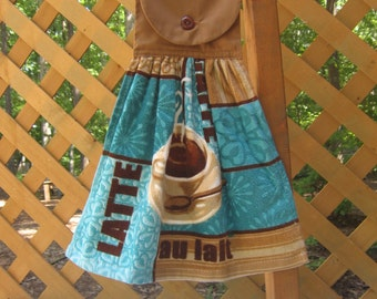 Coffee Kitchen Tea Towel, Brown Blue Hanging Dish Towel, Latte Towel, Kitchen Towels, Flawed Reduced Price, Brown Decor, Blue SnowNoseCrafts