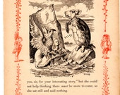 Through The Looking Glass Antique Book Page  - Alice, the Gryphon, and the Mock Turtle -  Vintage Alice in Wonderland nursery art, 8 x 10