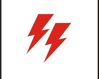 Roller Derby Helmet Decal Bowie boltie lightning bolts electricity