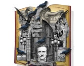 Halloween Altered book Edgar Allen Poe pop up Card collage sheet printable craft project and stand
