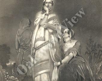 Ruth & Naomi Biblical Engraving, Two Women, Bible Religion Religious, Family, Antique 1854 Black White 6x9 Art, FREE Shipping