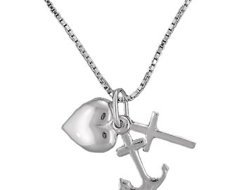 Sterling Silver Faith Hope Charity Pendant Necklace Cross Anchor Heart With 18 Inch Box Chain