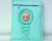 Vintage Baby Bag Insulated Tote / Bottle Holder / Doll Face Lull-A-Babe / Green Vinyl Quilted Bag