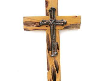 Cypress Wood Cross, Pecky Cypress Wood,  Wooden Wall Art, Rustic Religious Art - Wedding Decoration