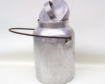 Vintage Aluminum Canister | Milk Can |  Metal Pail | Milk Pail | Storage Container - As Is
