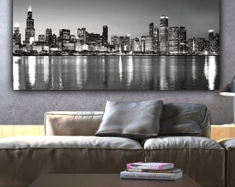 Chicago Skyline Wall Art chicago skyline canvas set chicago panoramic tryptic chicago