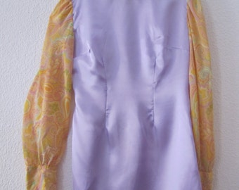 retro handmade 1960s psychedelic lilac and yellow dress
