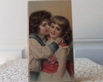 Vintage Trinket Box - Victorian Boy and Girl, Hinged, Hoffman, Swiss Made, Collectible, Display, Childs Room, Bookshelf
