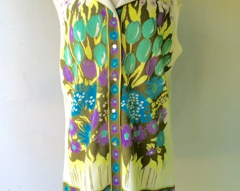1970s Sleeveless Abstract Floral TUNIC // Size Xl