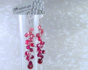 Watercolor - Sterling Silver Long Red Earrings in Ombré Pink/Crimson/Burgundy Swarovski Crystals and Faceted Glass by InfinEight