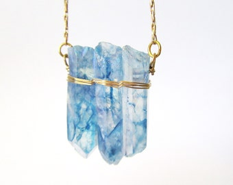 Boho Raw Crystal Necklace// Summer Wear// Long Layering Necklace// Blue Necklace