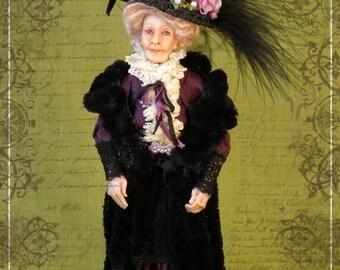 Mrs. HARMSWORTH ooak elderly Edwardian lady 1:12 dollhouse doll by Soraya Merino