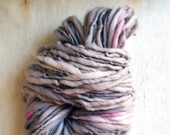 Soft Simple Pink and Grey Bulky Handspun thick n thin Wool soft knitting supplies Wool Light Grey crochet supplies fiber arts