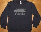Big Brother Fire Truck Sweatshirt - Big Brother Fire Shirt - Long Sleeved Shirt Navy Blue - Fleece 2T, 4T, 6, 8, 10, 12  - Gift Friendly