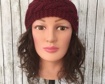 Burgundy knit headband ear muffs ear warmers