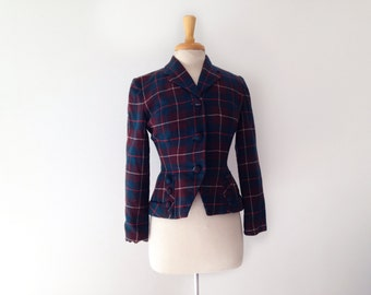1950s plaid green and burgundy blazer by sportrite junior size small or medium