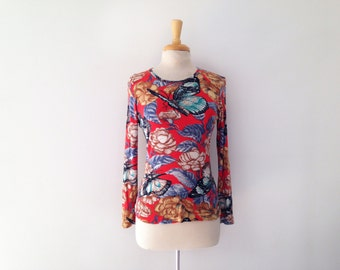 1970s Nanso long sleeve shirt with floral and butterfly print size small or medium