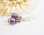 Purple Pearl Earrings Sterling Silver Jewelry, Birthday Gift, Lavender Earrings Grey Dangle Earrings Clip On, Lavender Bridesmaids Gift
