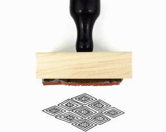 Diamond Pattern Stamp - Hand Drawn Geometric Pattern - Rubber Stamp by Creatiate
