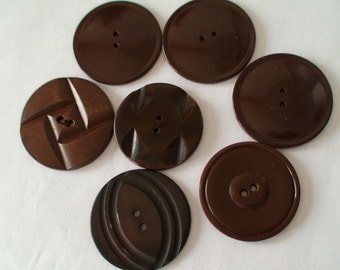 """Art Deco 1 3/8"""" Brown Round Two-Hole Dress or Coat Buttons, Seven Buttons in Five Designs"""