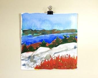 Lake George from Buck Mountain. An original Adirondack watercolor painting.