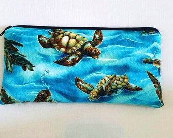 Turtle print pencil case//accessory pouch