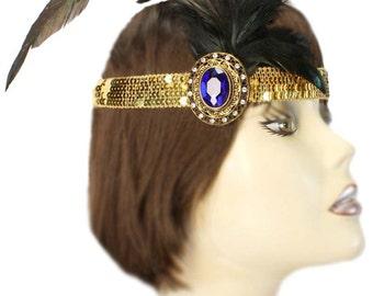 Flapper Headband Gatsby Rhinestone Blue Gold Roaring 20's Feathered Fascinator Cosplay