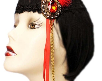 Flapper Headband Ruby Jewel Roaring 20's Gatsby Feathered Fascinator Red