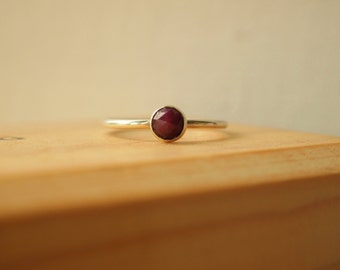 Ruby Ring - Sterling Silver Red Ruby Ring - July Birthstone Jewelry - Stacking Birthstone Ring - Solitaire Gemstone Ring