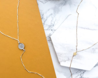 Lariat Necklace, Coin Necklace, Gold Y Necklace, Modern Lariat, Silver Coin Necklace, Minimal Necklace, Layering Necklace Pendant Necklace