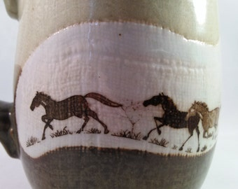 Absolutely Amazing Handmade Stoneware Horse/Stallion Mug