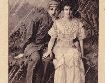 We've Seen Better Days- 1910s Antique Postcard- Sitting in the Rain- Edwardian Couple- Art Comic Card- J J Marks- Paper Ephemera- Used