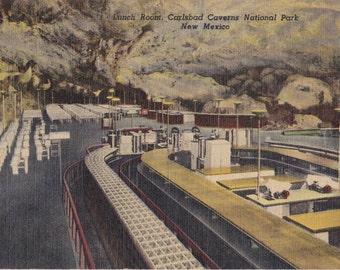 Cave Lunch Room- 1940s Vintage Postcard- Carlsbad Cavern National Park, New Mexico- Underground Cafeteria- Souvenir Postcard- Paper Ephemera