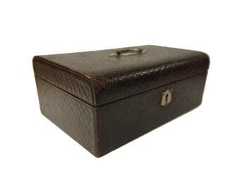 Edwardian Leather Antique Jewellery Box Vintage Jewelry Box Red Velvet Lining c.1900s
