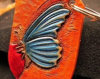 Custom butterfly key ring , handmade leather key fob , blue butterfly , handmade keychain , flutterby key ring