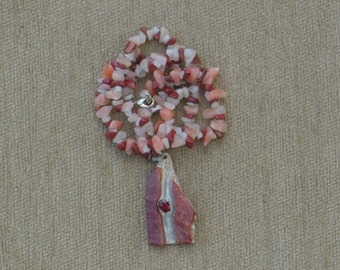 Red Abalone and garnet necklace