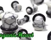 "Howlite Single Flare Stone Plugs 8g-1/2"" (Sold as Pair) Handmade Body Jewelry Organic Plugs (8g, 6g,4g, 2g, 0g, 00g, 1/2"")"