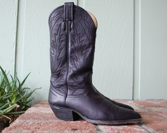 Vintage Womens 5b Nocona Boots USA Cowboy Cowgirl Country Western Southwestern Black Leather Festival Pull On Tall Moto Hipster Boho Hippie