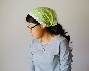 Green Pindot Wide Headband/Headcovering for Women | 2 in 1 Convertible Headcovering