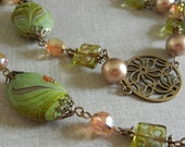 Green Dreams - Green & Bronze Necklace and Earring Set