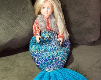 "Mermaid Tail Crochet Blanket for 18"" dolls, Newborn, or Preemie Baby, Ready to Ship, Mermaid Cocoon, Doll Accessories, Imaginary play"
