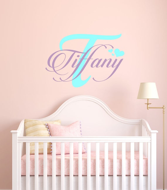 Girls Name Decals, nursery wall decals, custom girls name decal, nursery vinyl decals, heart decals, girl decals