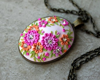 Lovely Polymer Clay Applique Statement Pendant Necklace in Pinks and Orange