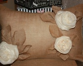 "Home decor-Pillows-Cushion-Lumbar-Natural&Oyster Burlap-Shabby chic-14x20"" Pillow Cover-Envelope Closure-Handmade decorative roses decorated"