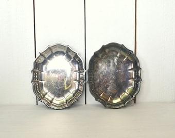 Silver Plate Trinket Dish 1960s Vintage Scallop Edge Mini Dresser Storage Tray