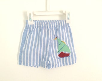 1980s baby boys NAUTICAL pinstriped shorts / sailboat embroidered / photo prop / fourth of july 4th