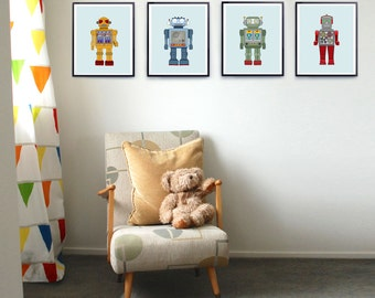 Robot wall decor etsy for Robot room decor