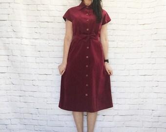 Vintage 70s Burgundy Ultrasuede Dress L Button Front Cap Sleeve Belted Knee Length Suede