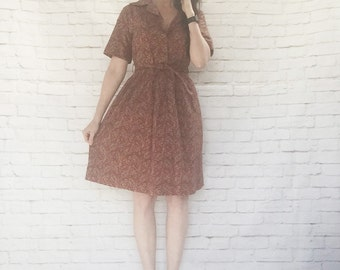 Vintage 60s Belted Paisley Day Dress Red Cotton Pleated Dark Red L XL