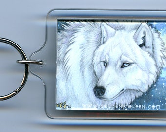 White Wolf with Galaxy Keychain